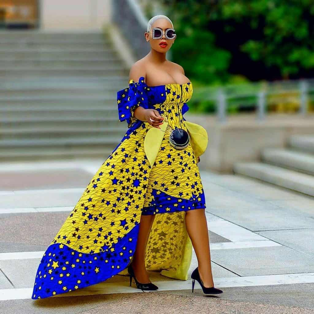 Blue and yellow african print gown