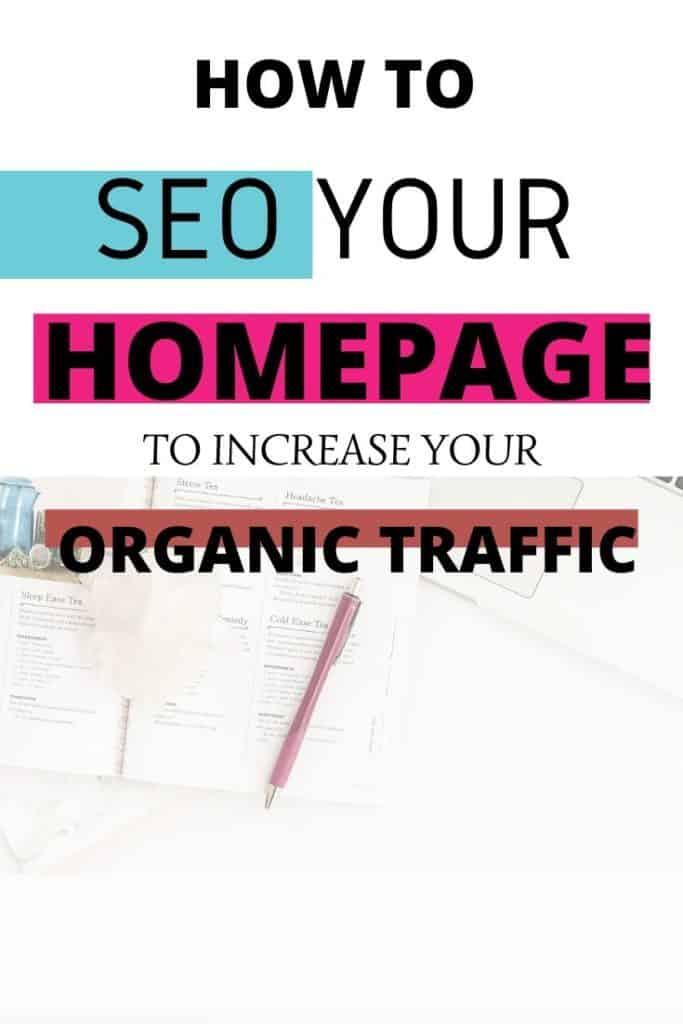 A PINTEREST IMSGE GRAPHIC WITH A TEXT ABOUT HOW TO SEO YOUR HOMEPAGE