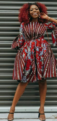Woman in red Flared bell sleeves women African clothing