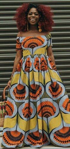 Woman in african print maxi dress