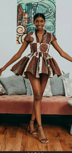 Woman in shorticulture Flared african print dress