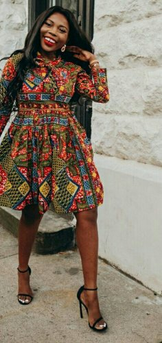 Woman in african print dress