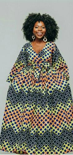 Woman in ankara maxi dress
