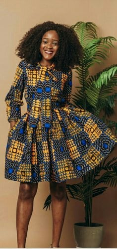 Woman in african print top and skirt