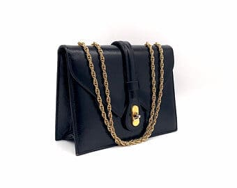 Leather bag with chain straps black
