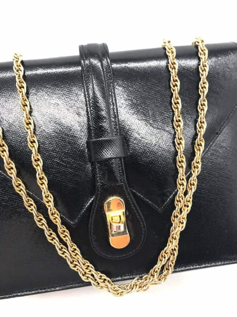 Small leather bag with chain strap