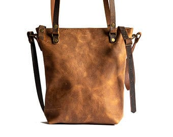 Small leather tote bag with zipper
