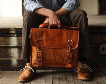 Leather messenger bag small
