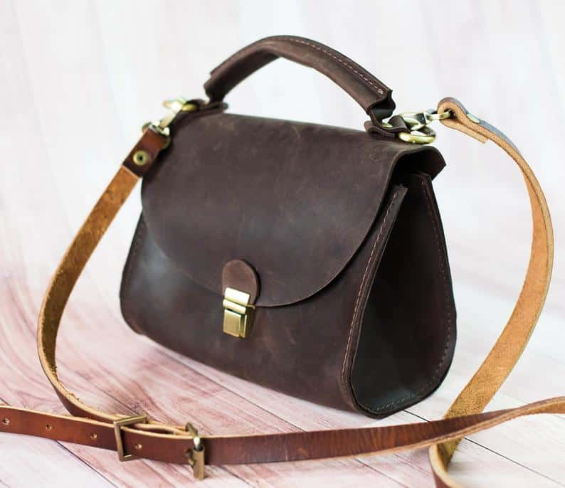 Leather bag small black