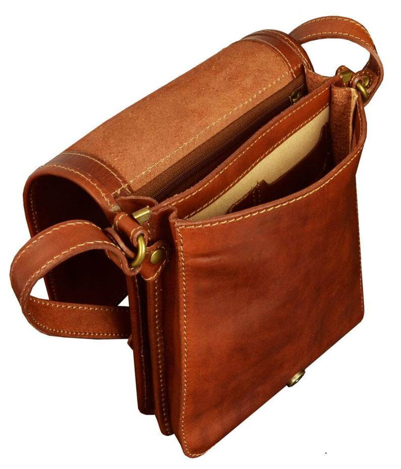 Small leather messenger bag for man uk