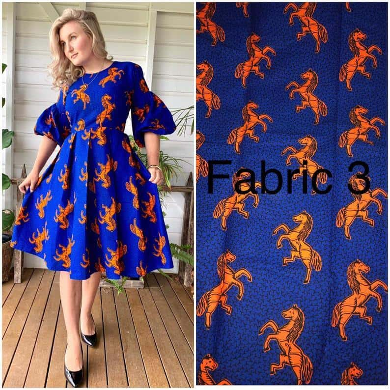 A blue print African outfits for women