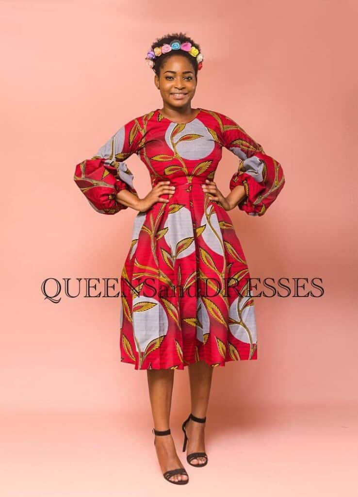 A red and grey african outfits for women dress tyle