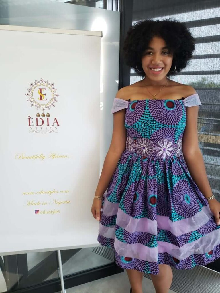 Purple african print dress