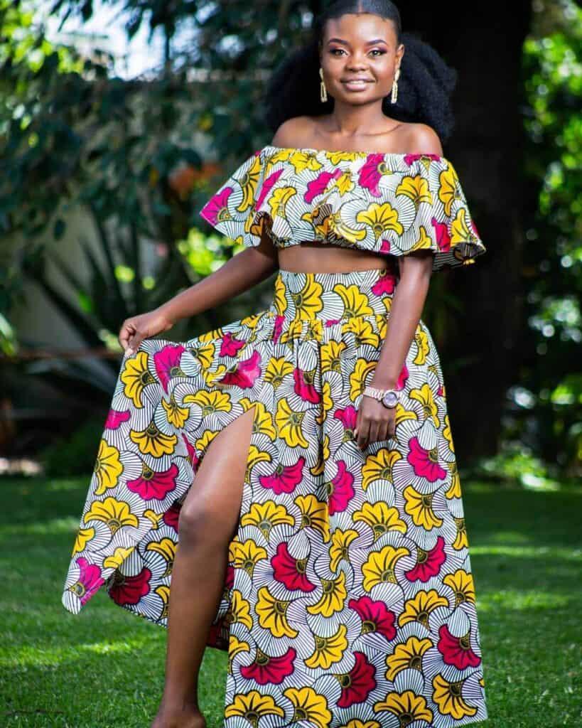 Yellow and pink Ankara maxi skirt