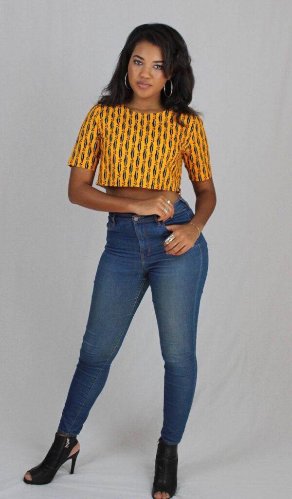 Ankara crop top and high waist trouser