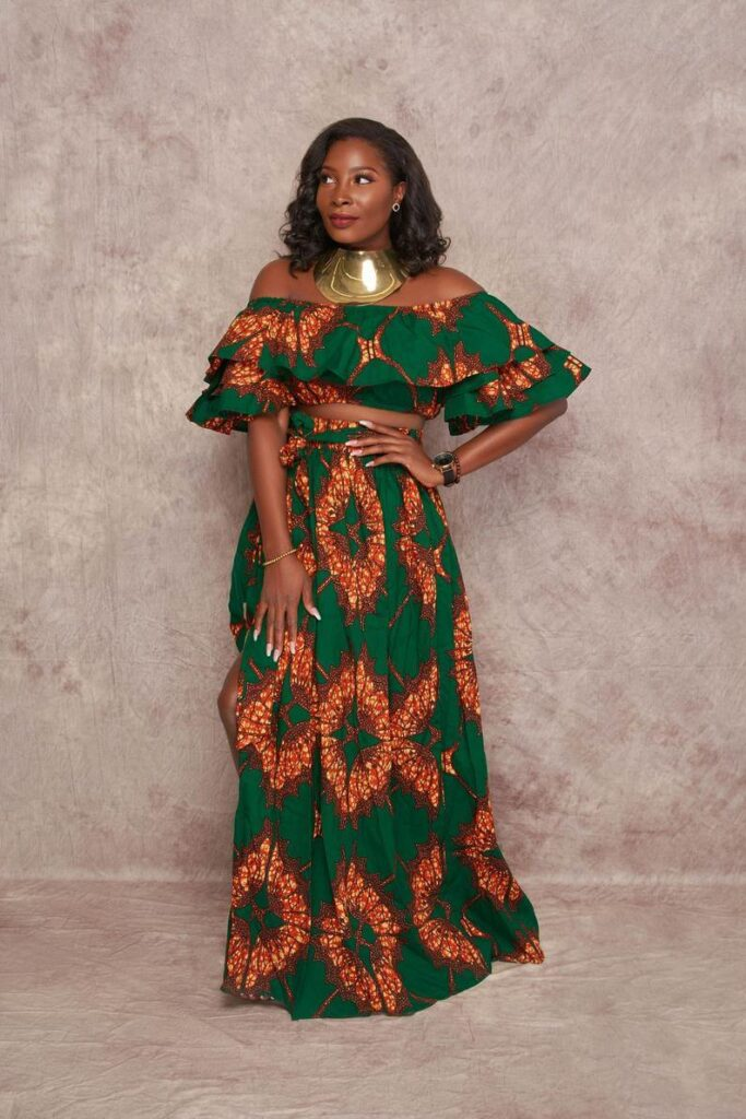 Green ankara crop top and maxi skirt