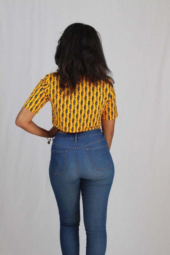 Ankara crop top and high waist jeans