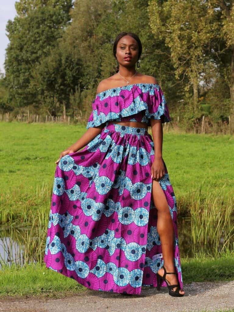 Purple and blue Ankara crop top and maxi skirt
