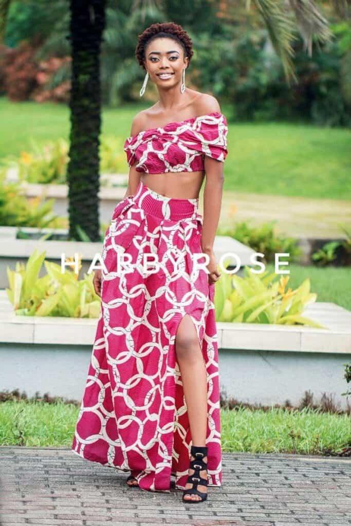 Pink crop top and maxi skirt